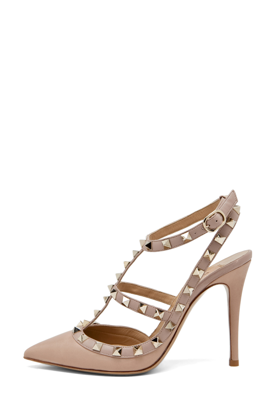 Valentino|Rockstud Leather Slingbacks T.100 in Powder