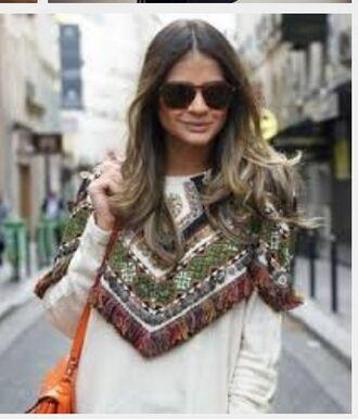beaded sweater embellished zara embroidery fringes cream jumper ebay