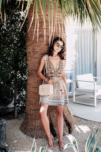 viva luxury blogger summer dress printed dress print beach dress chanel bag beige bag shoulder bag beach summer holidays gold choker
