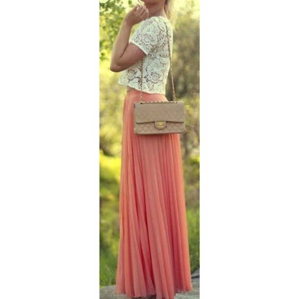skirt maxi skirt pleated skirt coral skirt