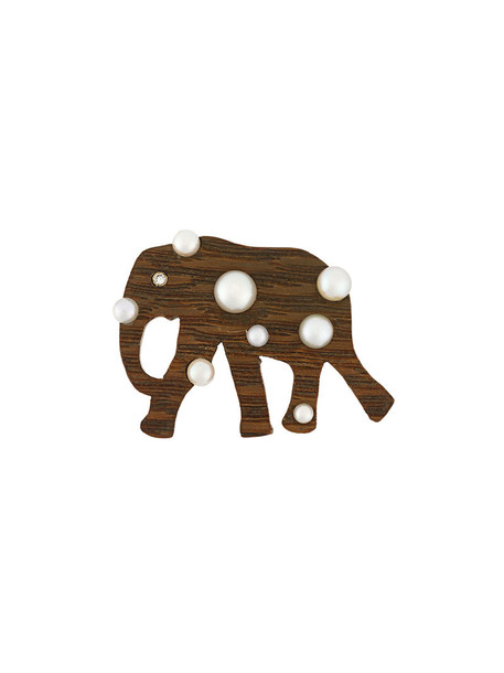 Marc Alary wood women elephant pendant gold brown jewels