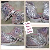 shoes,chuck taylor shoes,custom,rhinestones,sequins,pink bow,bows,custom rhinestone converse,wedding shoes,rhinestone sneakers,chuck taylor all stars,high top converse,converse