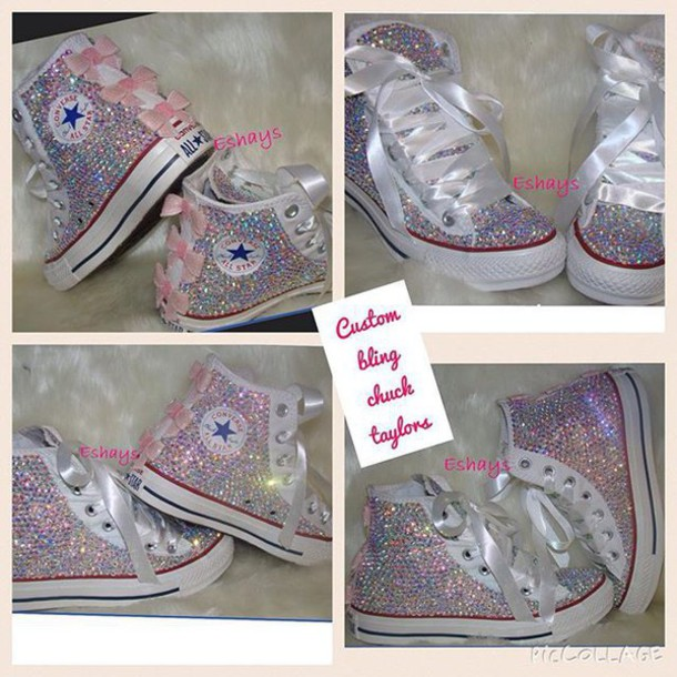 08f4a1310056a5 shoes chuck taylor shoes custom rhinestones sequins pink bow bows custom rhinestone  converse wedding shoes rhinestone