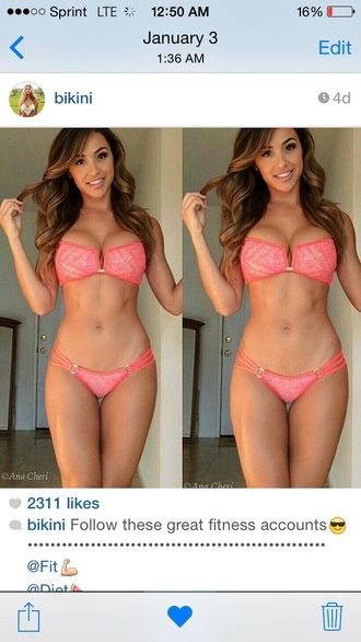 swimwear pink bikini pink bikini bikini top bikini bottoms gold bandeau bandeau swimsuit