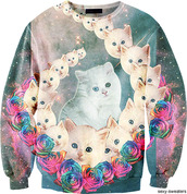 sweater,clothes,cats,sweatshirt,galaxy print,shirt,space cats,funny sweater,rainbow