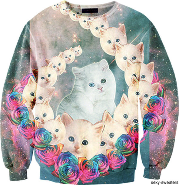 sweater clothes cats sweatshirt galaxy print shirt space cats funny sweater rainbow