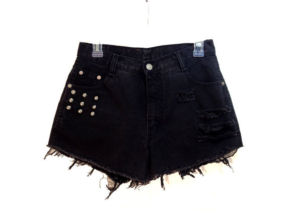 Black studded ripped high waist shorts by highwaistoftime on etsy