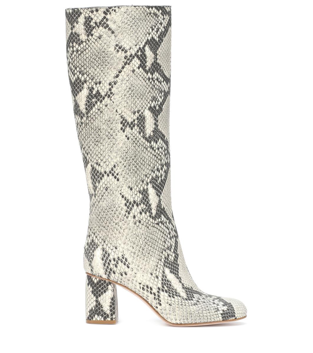 RED (V) snake-effect knee high boots