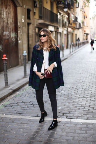 my daily style blogger cape tartan blouse shoes bag