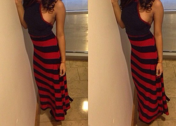 dress red black long black and red stripped stripped dress red sundress sun dress