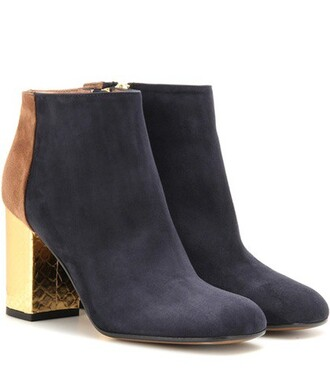 leather ankle boots boots ankle boots leather suede blue shoes