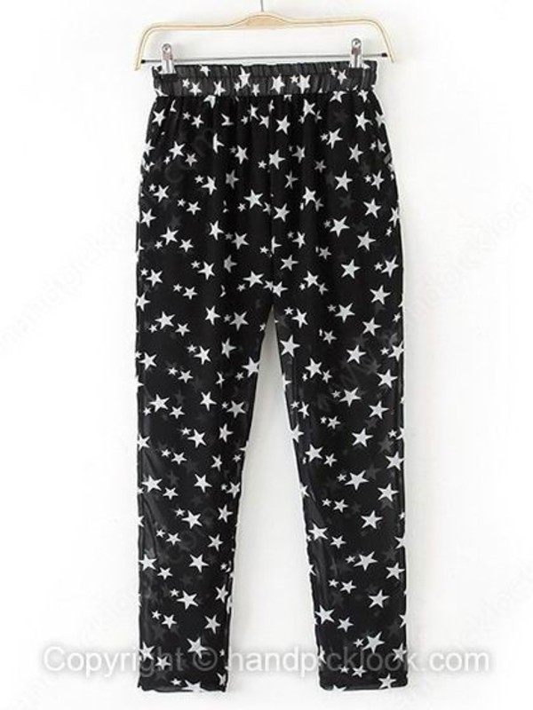 chiffon trouser print pants star print star pattern black trousers summer pants handpicklook.com