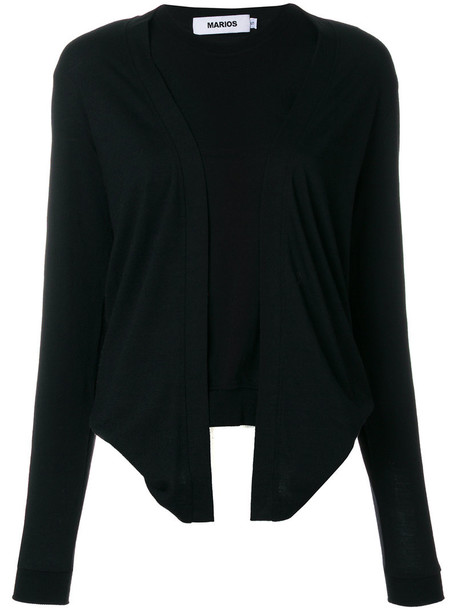 Marios - layered look top - women - Merino - L, Black, Merino