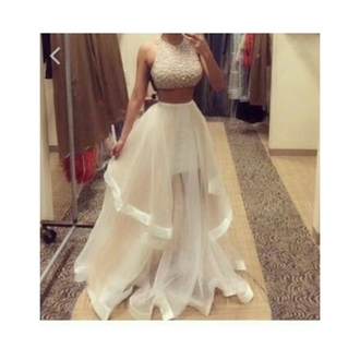 dress white two-piece prom dress