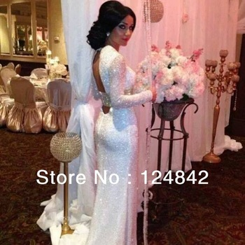 Aliexpress.com : Buy Custom made sexy Open back beading wide belt white sequins lace long sleeve maxi Evening Dresses from Reliable lace baby doll dress suppliers on Suzhou Rose Bridal Dress