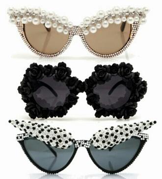 black sunglasses dope polka dots pearl cat eye shades shades retro