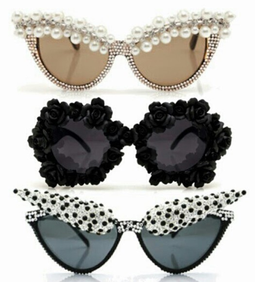 sunglasses cat eye dope dots black pearls shades shades, sunglasses, retro, cute