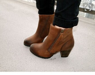 shoes ankle length brown leather boots small heel