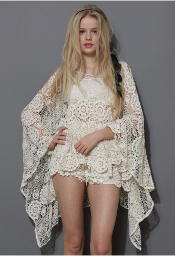 Boho Day Floral Crochet Poncho - Retro, Indie and Unique Fashion