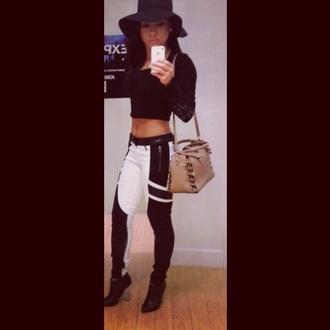 jeans black white bag crop tops black pants b&w