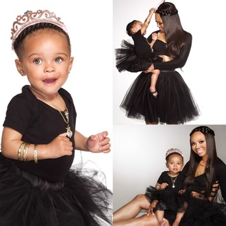 jewels girls fashion kids fashion fashion kids black clothing crown tiara braided crown mommy & me mommy and daughter fashion toddler tulle skirt ballet shoes necklace cross cross necklace heart jewelry heart bracelets bangles earrings girly baby clothing mother and child