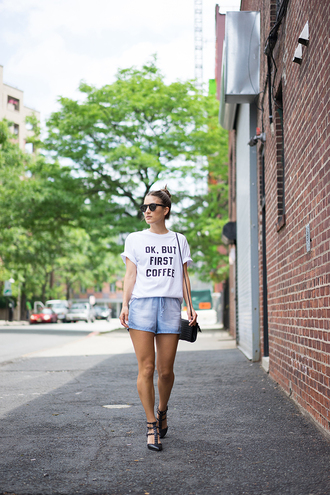 lana jayne blogger graphic tee coffee studded shoes blue shorts denim shorts