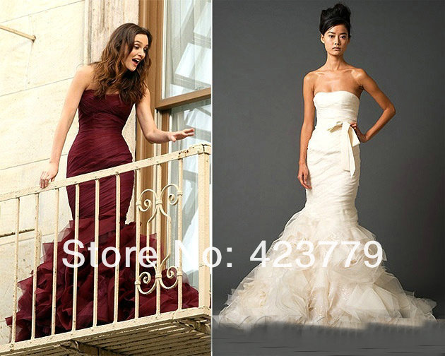 Aliexpress.com : Buy Stylish Leighton Meester Love Struck Dark Red Mermiad Tulle Bridal Dresses Famous Designer Wedding Dresses from Reliable design you wedding dress suppliers on 27 Dress