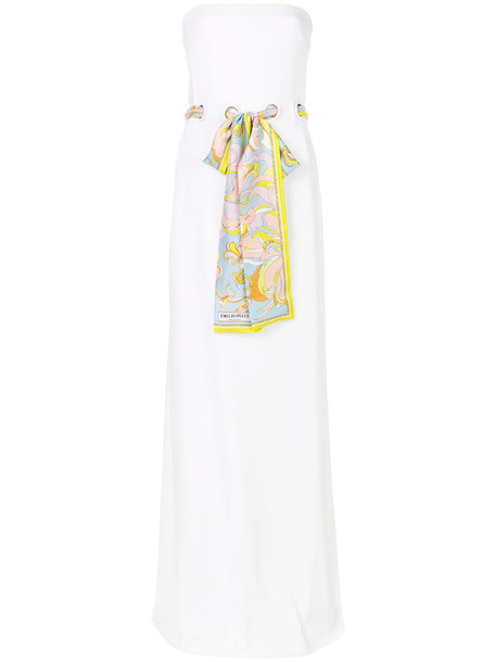 gown strapless women spandex white silk dress