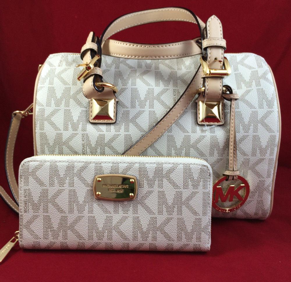 Michael Kors Grayson Medium Satchel Handbag MK Signature PVC ...