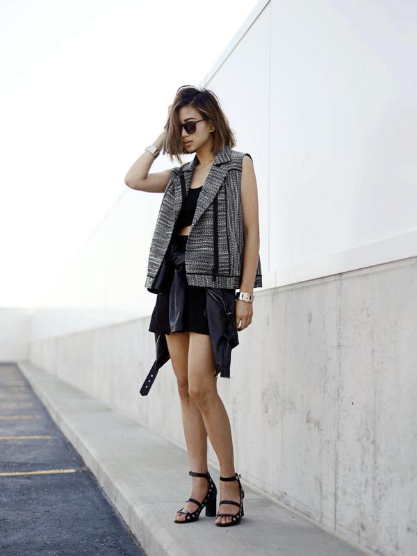 ordinary people shoes jacket jewels skirt sunglasses