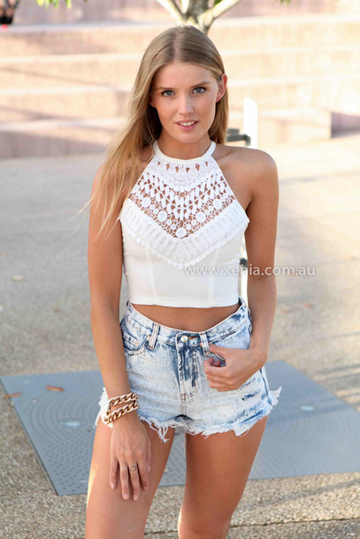 tank top women s clothing top lace white xeniaboutique women s    Cropped Halter Top Outfit
