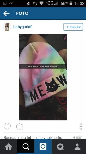 hat cap meow cats colors rainbow instagram