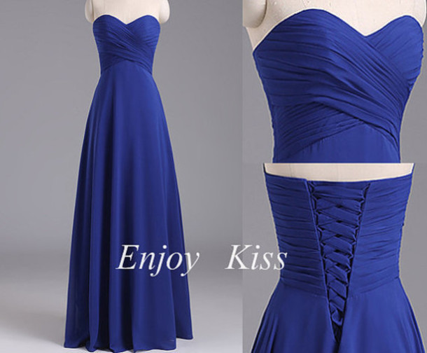 dress, royal blue bridesmaid dress, straight