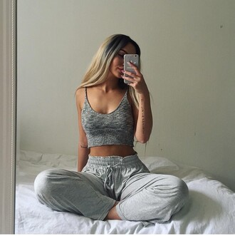 grey sweatpants knitted crop top top lazy day shirt crop tops grey crop top grey pants pajamas comfy pants girl girly girly wishlist cute tank top wool crop woolen