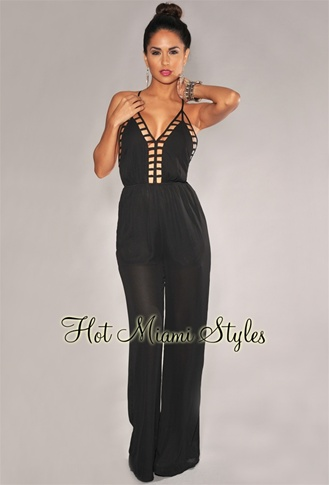 Black Cut-Out Accent Jumpsuit