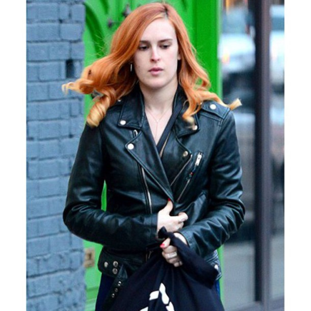 Jacket: black leather jacket, rumer willis leather jacket, biker ...