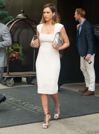 dress midi dress jessica alba summer dress bodycon sandals shoes