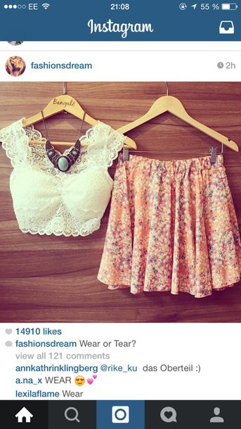 top lace top crop tops cute top gorgeous skirt