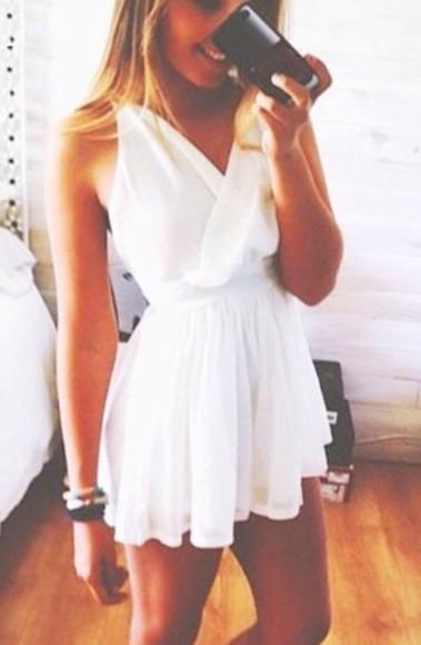 white silk white dress dress v neck dress halter top