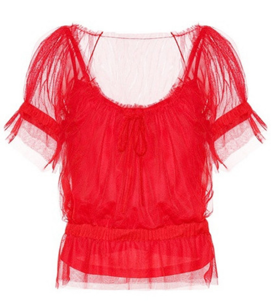 Staud Sweeny tulle top in red