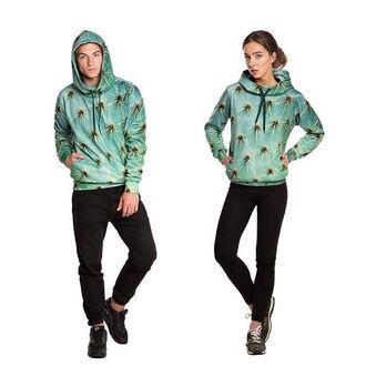 sweater hoodie printed hoodie all over print hoodie full print hoodie fullprint hoodie hooded sweater hooded pullover hooded jumper floral green hoodie floral hoodie cactus cactus hoodie fusion green print