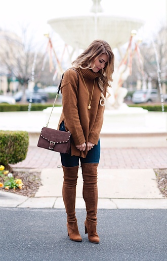 herestheskinny blogger sweater jeans shoes bag jewels make-up thigh high boots boots shoulder bag brown sweater turtleneck sweater brown boots winter outfits