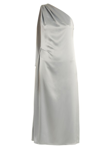 dress satin dress draped satin light blue light blue