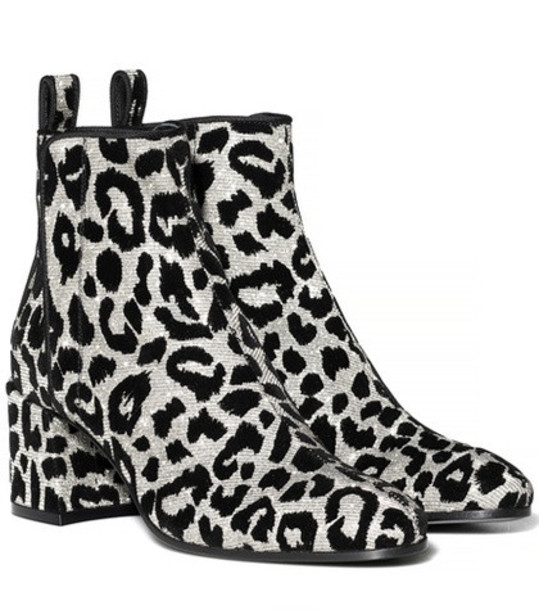 Dolce & Gabbana Leopard ankle boots in silver
