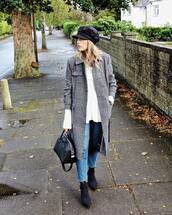 coat,grey coat,hat,white sweater,tumblr,fisherman cap,denim,jeans,blue jeans,sweater,boots,black boots,bag,black bag