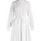 Point-collar fluted-peplum cotton dress