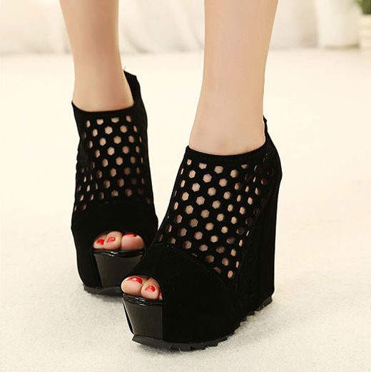 Hollow Out Mesh Open Toe High Heel Black Platform Shoes Sandals Ankle Boots | eBay