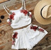 shorts,two-piece,short,white,red,top,embroidered,set,rose,romper,pink flowers,floral romper,summer,spring,shirt,floral,flowers,trendy,blouse,tank top,bottoms,High waisted shorts,two piece dress set,rosés,dress,jumpsuit,floral crop top,summer outfits,spring outfits,flowered shorts,indie,pink,coachella,zaful,casual dress,mini,boho,sheer,beautiful,love,roses,boho dress,boho pants,hippy dress,white romper,white tank top,white shorts,dentelle,beach,light,crop tops,pajamas,booty shorts,floral tank top,floral top,matching set,lingerie set,cute,hat,two-peice,lace romper,style,summer dress,spring break,spring dress,white top