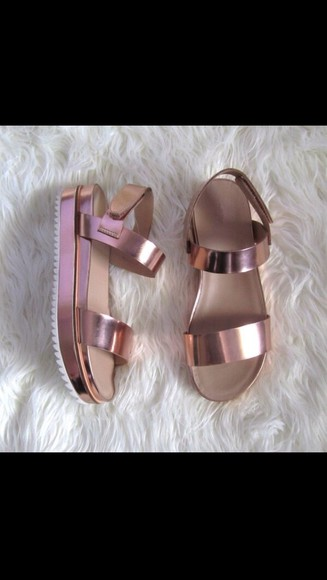 shoes tumblr metallic sandals metallic shoes pink wedges
