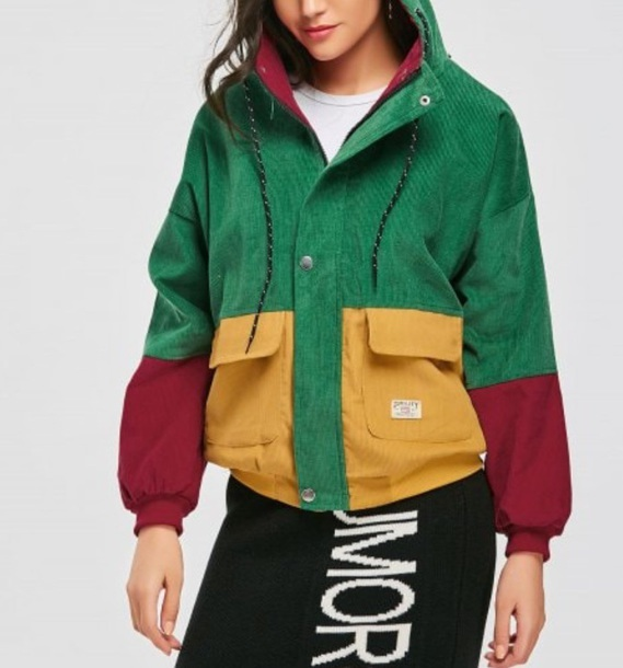 jacket girly colorful colorblock corderouy corduroy jacket green yellow hoodie burgundy zip zip up jacket